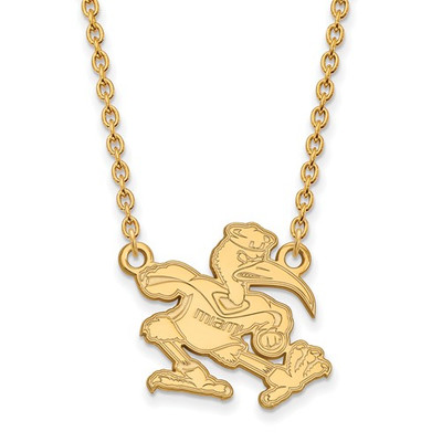 Miami Hurricanes Sebastian Ibis 14K Gold Necklace | Logo Art | 4Y057UMF-18