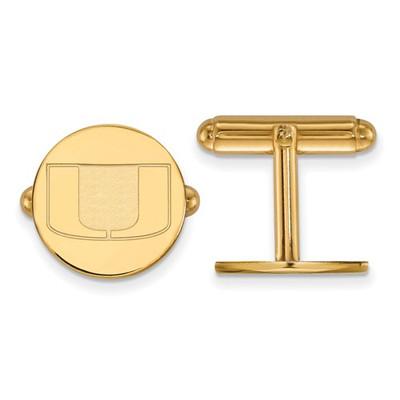 Miami Hurricanes U Logo 14K Gold Cufflinks | Logo Art | 4Y012UMF