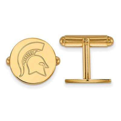 MSU Spartans Helmet Logo 14K Gold Cufflinks | Logo Art | 4Y053MIS