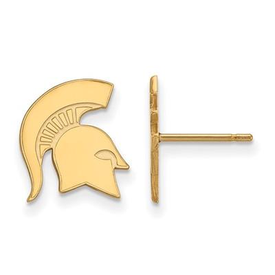 MSU Spartans Helmet 14K Gold Post Earrings | Logo Art | 4Y051MIS