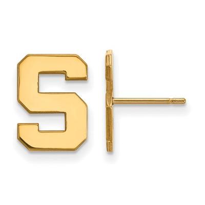 MSU Spartans S Logo 14K Gold Post Earrings | Logo Art | 4Y009MIS