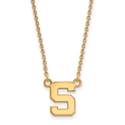MSU Spartans S 14K Gold Pendant Necklace | Logo Art | 4Y015MIS-18