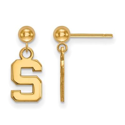 MSU Spartans S Logo 14K Gold Dangle Earrings | Logo Art | 4Y010MIS