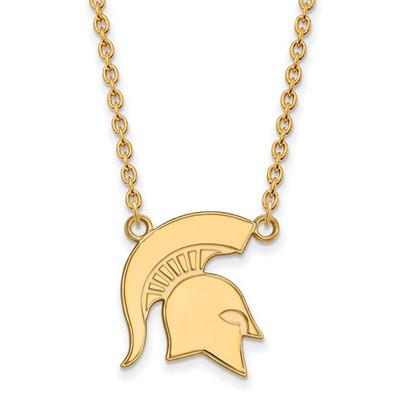 MSU Spartans Helmet 14K Gold Pendant Necklace | Logo Art | 4Y057MIS-18