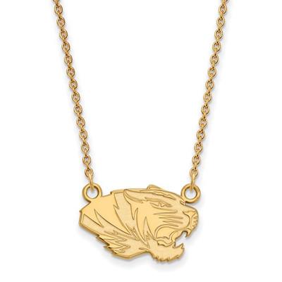 Missouri Tigers 14K Gold Tiger Pendant Necklace | Logo Art | 4Y048UMO-18