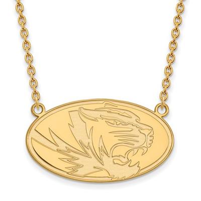Missouri Tigers Oval 14K Gold Pendant Necklace | Logo Art | 4Y016UMO-18