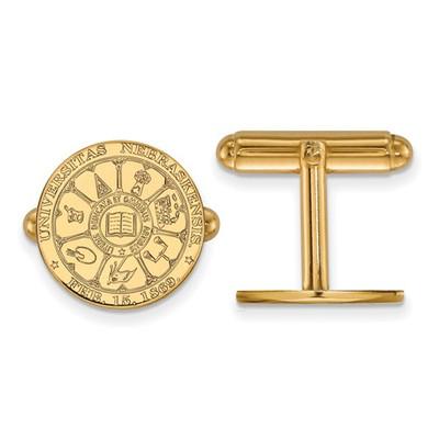 Nebraska Crest Huskers 14K Gold Cufflinks | Logo Art | 4Y046UNE