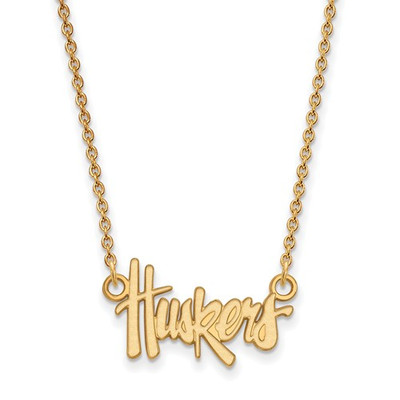 Nebraska Huskers Script 14K Gold Necklace | Logo Art | 4Y009UNE-18