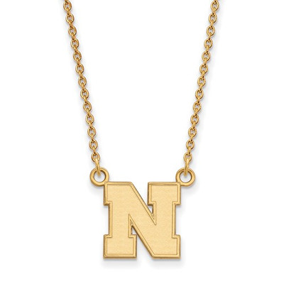 Nebraska Huskers 14K Gold N Pendant Necklace | Logo Art | 4Y073UNE-18