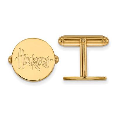 Nebraska Huskers Script 14K Gold Cufflinks | Logo Art | 4Y079UNE