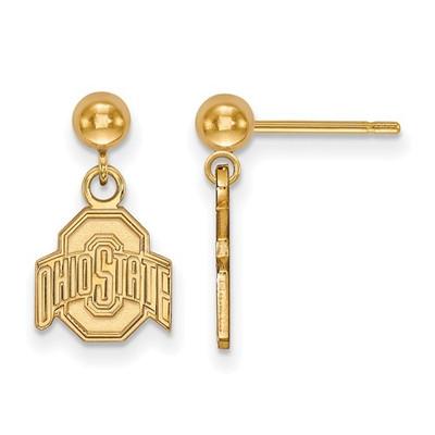 Ohio State Buckeyes 14K Gold Dangle Earrings | Logo Art | 4Y010OSU