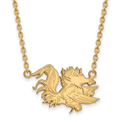 SC Gamecocks Mascot 14K Gold Pendant Necklace | Logo Art | 4Y055USO-18