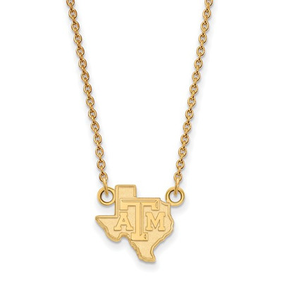 Texas A&M Aggies State Shape 14K Gold Necklace | Logo Art | 4Y048TAM-18