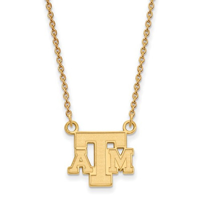 Texas A&M Aggies Letter 14K Gold Pendant Necklace | Logo Art | 4Y060TAM-18