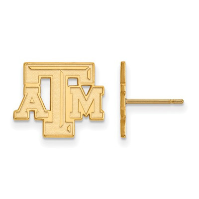 Texas A&M Aggies Letter 14K Gold Post Earrings | Logo Art | 4Y070TAM