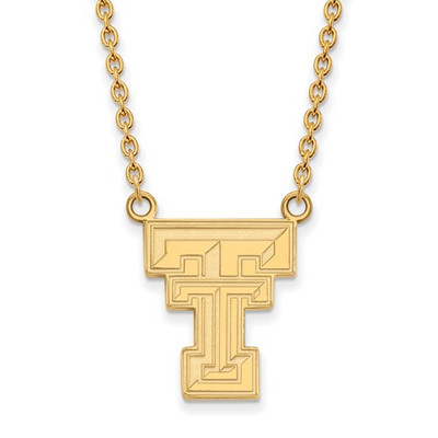 Texas Tech Red Raiders 14K Gold TT Pendant Necklace | Logo Art | 4Y016TXT-18