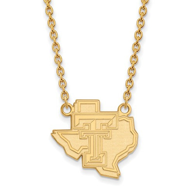 Texas Tech Red Raiders 14K Gold Pendant Necklace | Logo Art | 4Y055TXT-18