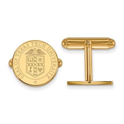 Texas Tech University Crest 14K Gold Cufflinks   Logo Art   4Y073TXT