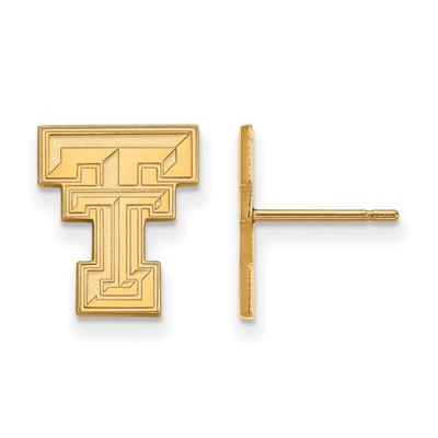 Texas Tech Red Raiders TT 14K Gold Post Earrings   Logo Art   4Y009TXT