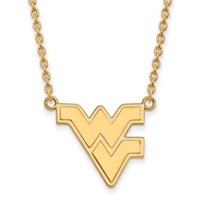 WV Mountaineers Letter Logo 14K Gold Necklace | Logo Art | 4Y016WVU-18