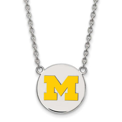 Michigan Wolverines M Logo Enamel Disc Silver Necklace | Logo Art | SS041UM-18