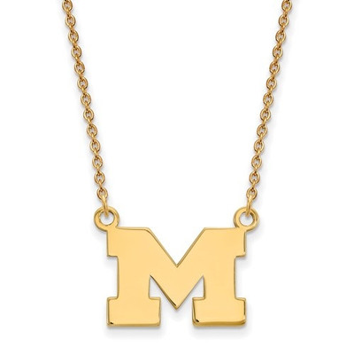 Michigan Wolverines 14K Gold Pendant Necklace | Logo Art | 4Y015UM-18