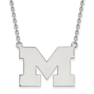 Michigan Wolverines M Sterling Silver Pendant Necklace | Logo Art | SS016UM-18