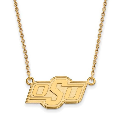 Oklahoma State Cowboys 14K Gold Pendant Necklace | Logo Art | 1Y014OKS-18
