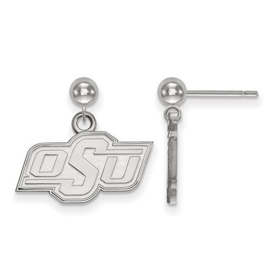 Oklahoma State Cowboys Sterling Silver Dangle Ball Earrings | Logo Art | SS009OKS