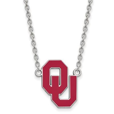 Oklahoma Sooners Enamel Sterling Silver Necklace | Logo Art | SS017UOK-18