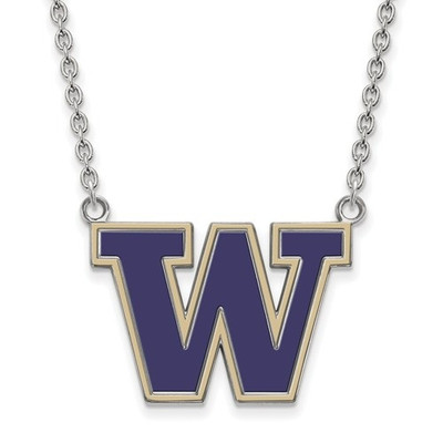 Washington Huskies Sterling Silver Enamel Necklace | Logo Art | SS010UWA-18