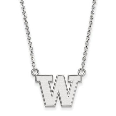 Washington Huskies Sterling Silver Pendant Necklace | Logo Art | SS008UWA-18