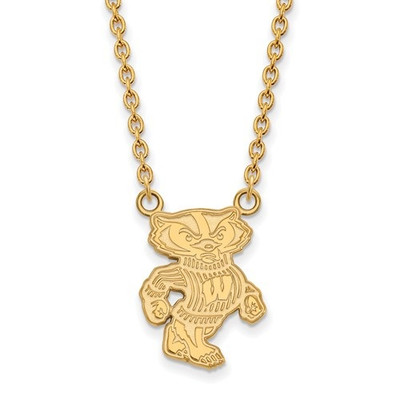 Wisconsin Badgers 14K Gold Necklace | Logo Art | 4Y055UWI-18