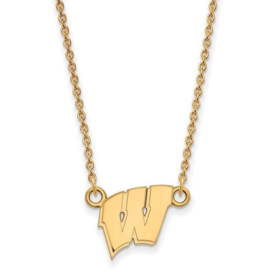 Wisconsin Badgers 14K W Logo Gold Necklace | Logo Art | 4Y015UWI-18