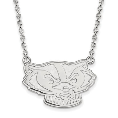 Wisconsin Badgers Sterling Silver Pendant Necklace | Logo Art | SS067UWI-18