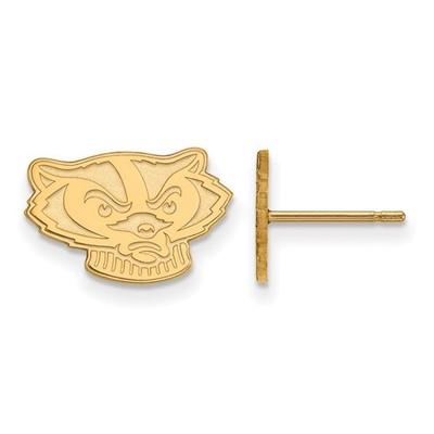 Wisconsin Badgers 14K Gold Post Earrings | Logo Art | 4Y064UWI