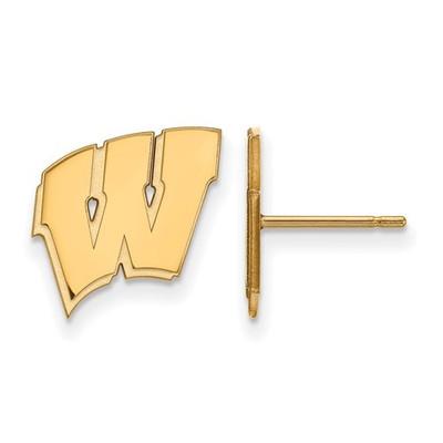 Wisconsin Badgers W Logo 14K Gold Post Earrings | Logo Art | 4Y009UWI