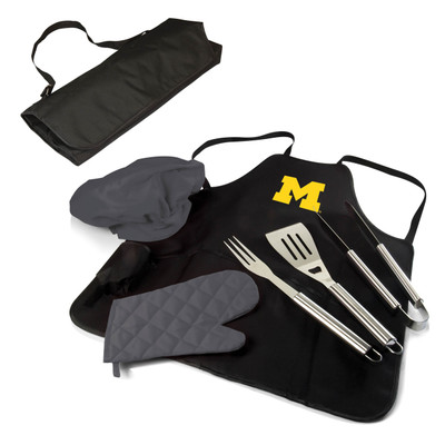 Michigan Wolverines BBQ Apron Tote Set | Picnic Time | 635-88-179-344-0