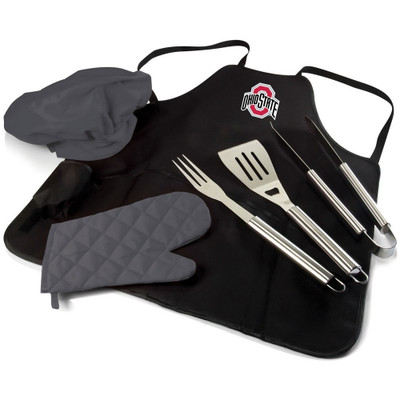 Ohio State Buckeyes BBQ Apron Tote Set | Picnic Time | 635-88-179-444-0