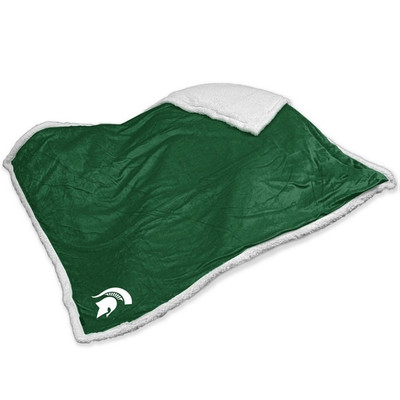 MSU Spartans Embroidered Sherpa Throw Blanket | Logo Chair | 172-24