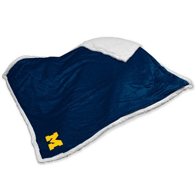 Michigan Wolverines Embroidered Sherpa Throw Blanket | Logo Chair | 171-24