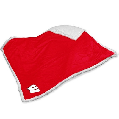 Wisconsin Badgers Embroidered Sherpa Throw Blanket | Logo Chair | 244-24