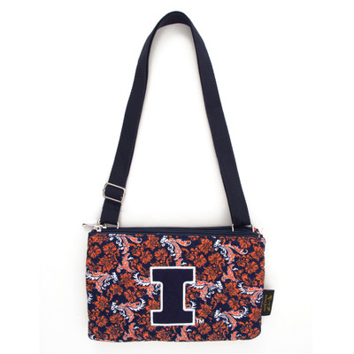 Illinois Fighting Illini Quilted Cotton Crossbody Purse | Eagles Wings | 10130