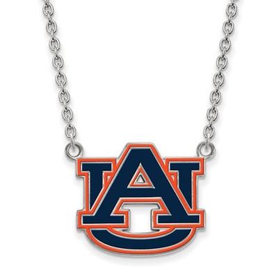 Auburn Tigers Sterling Silver Large Enamel Pendant Necklace | Logo Art | SS078AU-18
