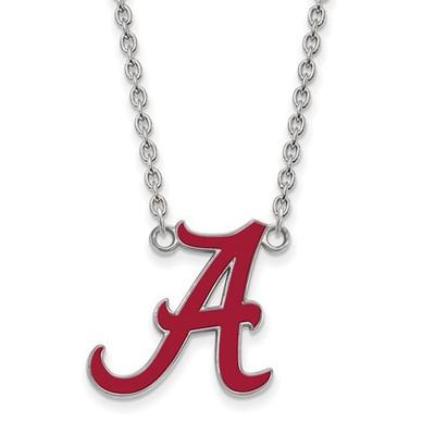 Alabama Crimson Tide A Sterling Silver Enamel Necklace | Logo Art | SS092UAL-18