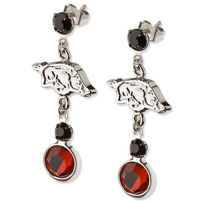 Arkansas Razorbacks Tide Crystal Logo Earrings | Logo Art | UAR065ER-CR