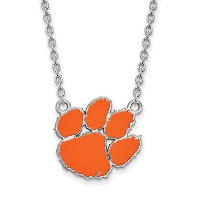 Clemson Tigers Paw Sterling Silver Enamel Pendant Necklace | Logo Art | SS045CU-18