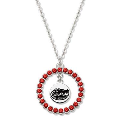 Florida Gators Spirit Crystal Logo Wreath Necklace   Logo Art   UFL067N-CR
