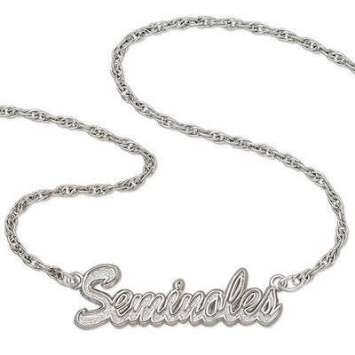 FSU Seminoles Sterling Silver Script Necklace | Logo Art | FSU045N-SS