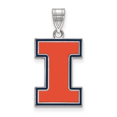 Illinois Fighting Illini I Sterling Silver Enamel Pendant | Logo Art | SS032UIL